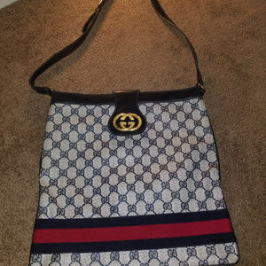 VINTAGE GUCCI GG WEB SUPREME STRIPE BAG